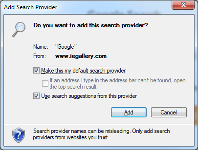google search provider Internet Explorer